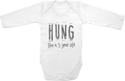 b27dac8ac1d5f Hung like a 5 year old cute infant clothing funny baby clothes bodysuit one  piece romper creeper