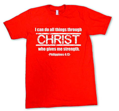 Mens American Apparel I can do all things through Christ who gives me strength Philippians 4:13 Religious Prayer tee shirt clothes clothing