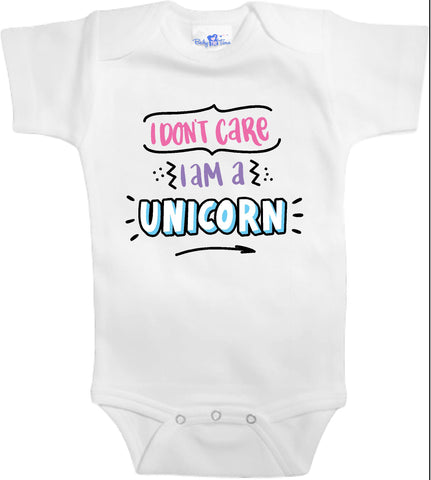 Adorable Baby Tee Time I don't care I'm a unicorn popular Baby clothes