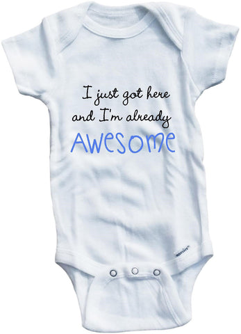 I just got here and I'm already awesome cute infant clothing funny baby clothes one piece bodysuit romper creeper