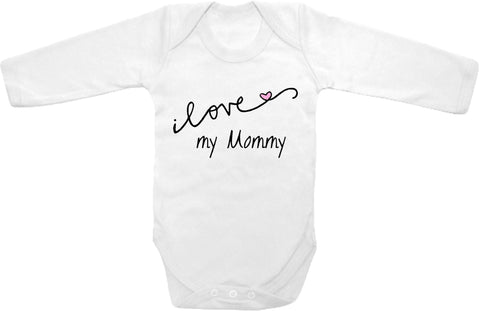 Cursive I Love My Mommy Cute Infant Clothing Funny Baby Clothes One
