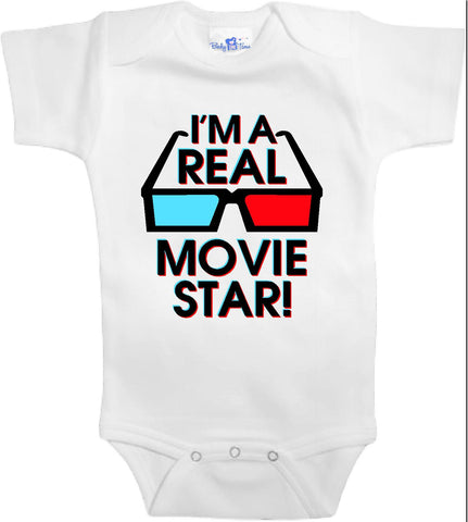 Adorable Baby Tee Time I'm a real movie star popular Baby clothes