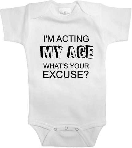 Adorable Baby Tee Time I'm acting my age what's your excuse Baby clothes