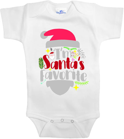 Adorable Baby Tee Time I'm Santas favorite popular Baby Onesie