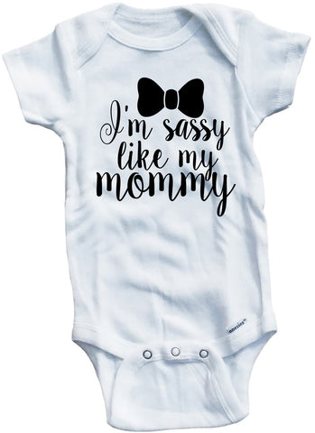 "Adorable Baby Tee Time ""I'm Sassy Like My Mommy"" Onesie"