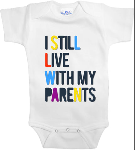 Adorable Baby Tee Time Colorful I still live with my parents popular Baby clothes