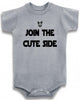 "Funny Adorable Baby Tee Time ""Join the cute side"" Baby Onesie"