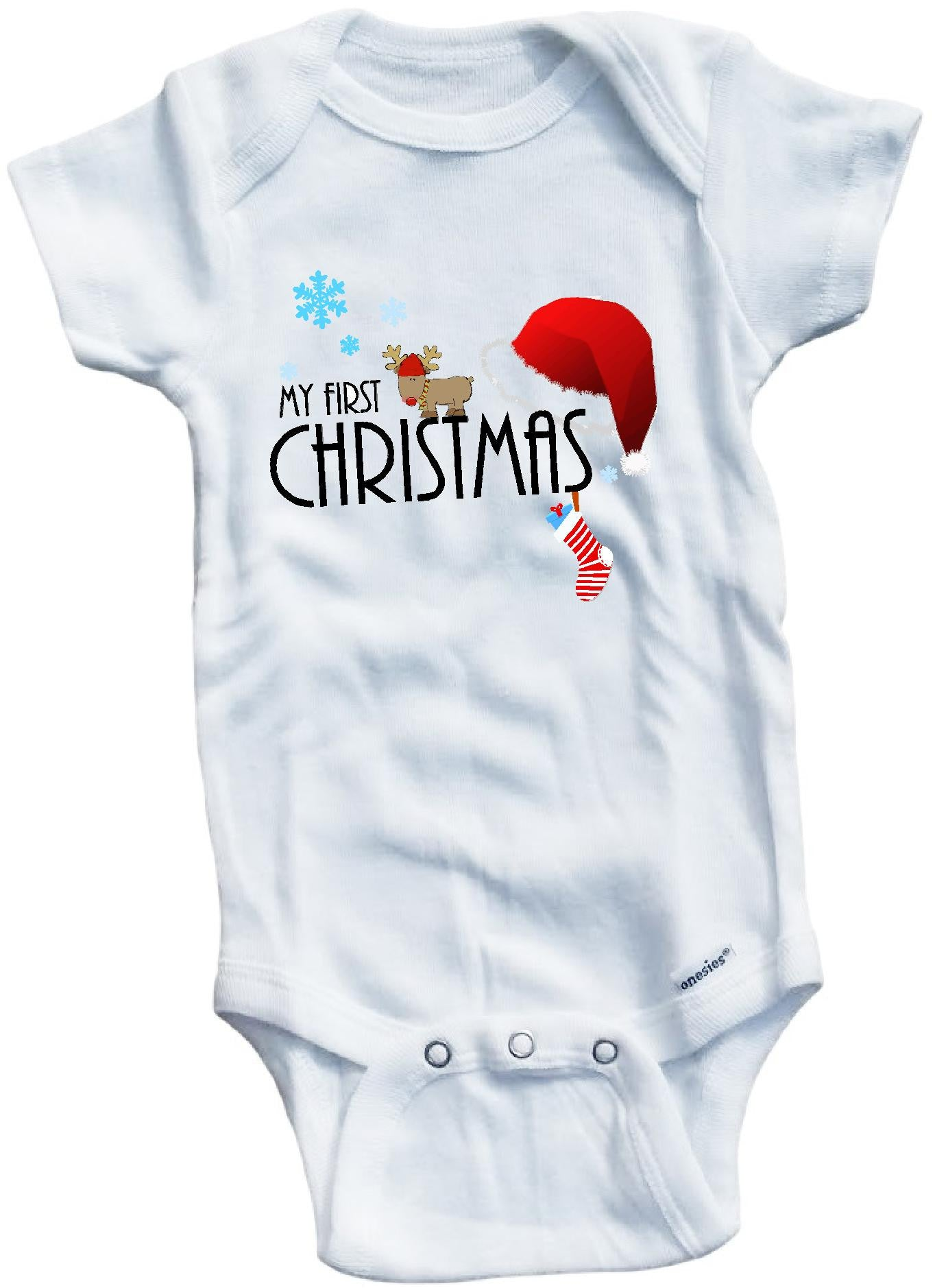 3d7c4490e My first Christmas cute infant clothing funny baby clothes bodysuit ...
