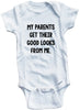 "Funny Adorable Baby Tee Time ""My Parents Get Their Good Looks From Me"" Onesie"