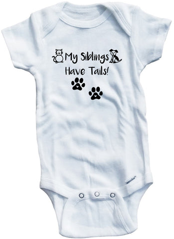 Adorable Baby Tee Time My Siblings Have Tails! Baby Onesie