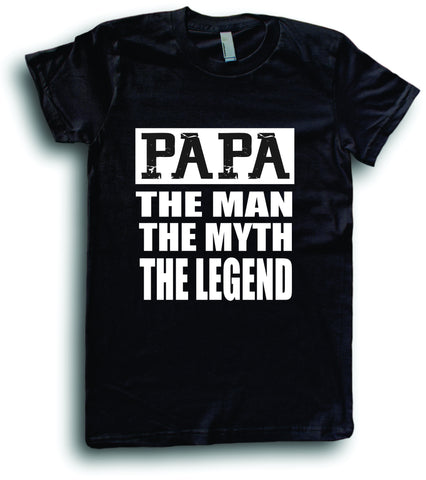 Mens American Apparel Papa the man myth legend funny tee shirt clothes clothing