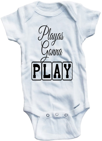 "Funny Adorable Baby Tee Time ""Playas Gonna Play"" Onesie"