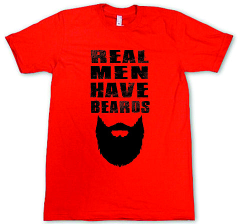 Mens American Apparel Real men have beards funny tee shirt clothes clothing