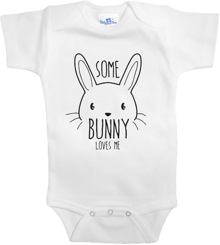 Easter Adorable Baby Tee Time Some bunny loves me popular Baby Onesie