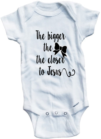 "Adorable Baby Tee Time ""The bigger the bow the closer to jesus"" Baby one piece"