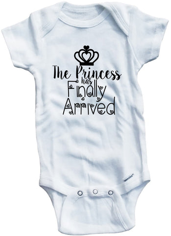 "Adorable Baby Tee Time ""The Princess has finally arrived"" one piece"