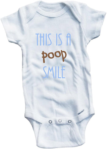 This is a poop smile cute infant clothing funny baby clothes bodysuit one piece romper creeper
