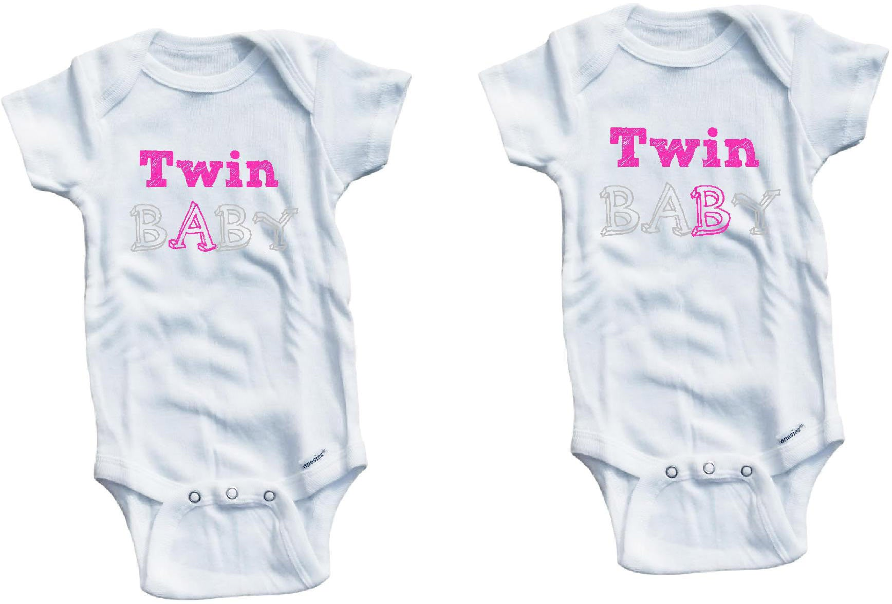 Twin baby A B one piece set cute infant clothing funny baby clothes