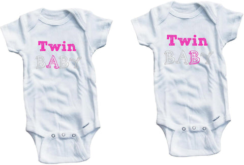 c354a8fe24b7 Twin baby A B one piece set cute infant clothing funny baby clothes ...