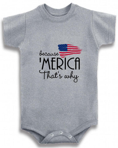 d7f39aed Because 'Merica that's why cute infant clothing funny baby clothes one  piece bodysuit romper creeper