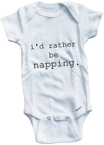 I'd rather be napping cute infant clothing funny baby clothes bodysuit one piece romper creeper