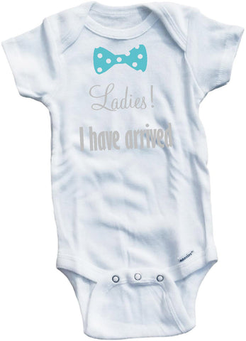 Ladies I have arrived bow tie cute infant clothing funny baby clothes bodysuit one piece romper creeper