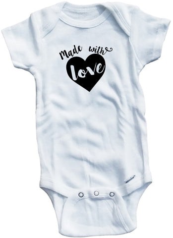 "Adorable Baby Tee Time ""Made With Love"" heart Onesie"