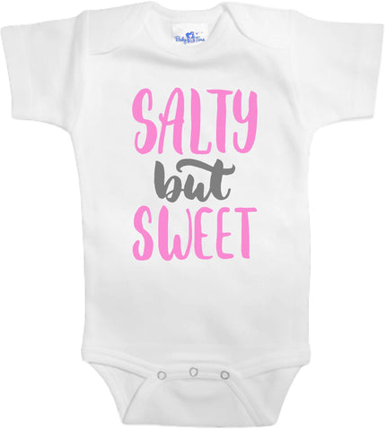 Girls Adorable Baby Tee Time Salty but sweet popular Baby Onesie