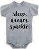 "Adorable Baby Tee Time ""Sleep. Dream. Sparkle"" one piece"