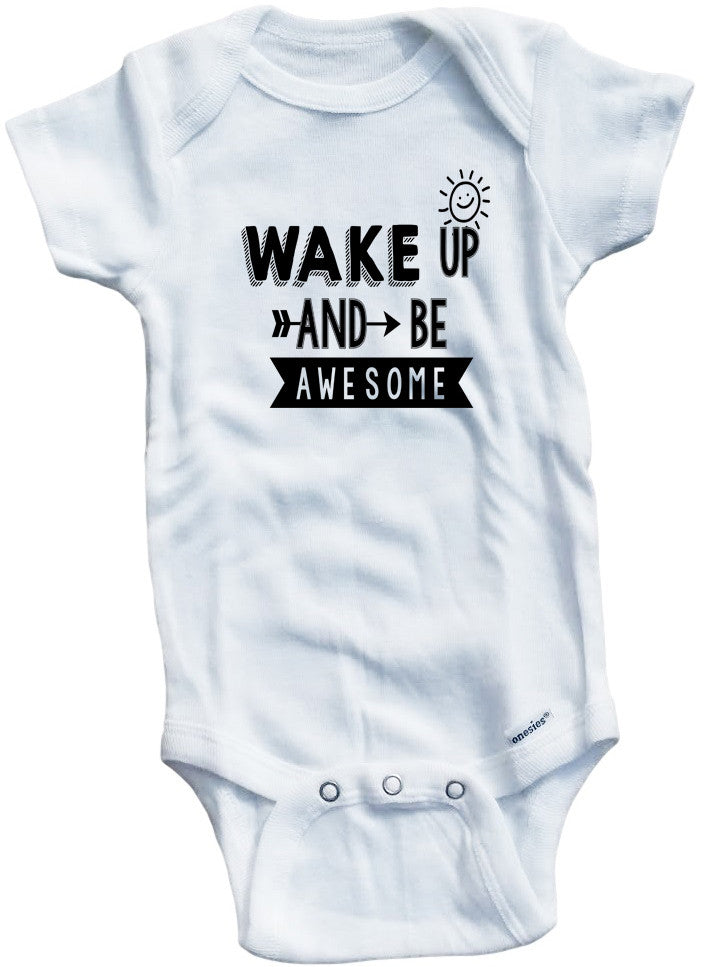 d49e8b608eb5 Adorable Baby Tee Time Wake Up And Be Awesome Baby Onesie