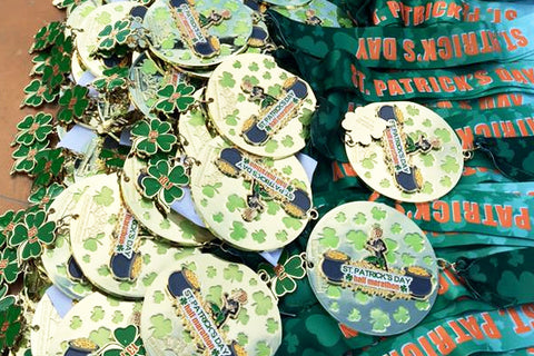 race bling, medals for the st. patricks day 5k and half marathon