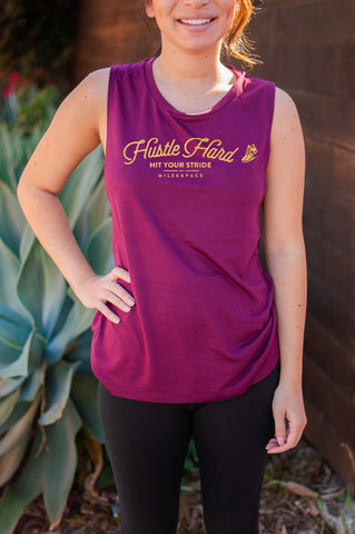 Hustle Hard // Muscle Tank // Gold Imprint