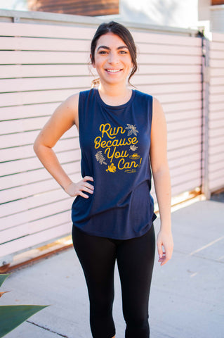 Run Because You Can// Fall Muscle Tanks