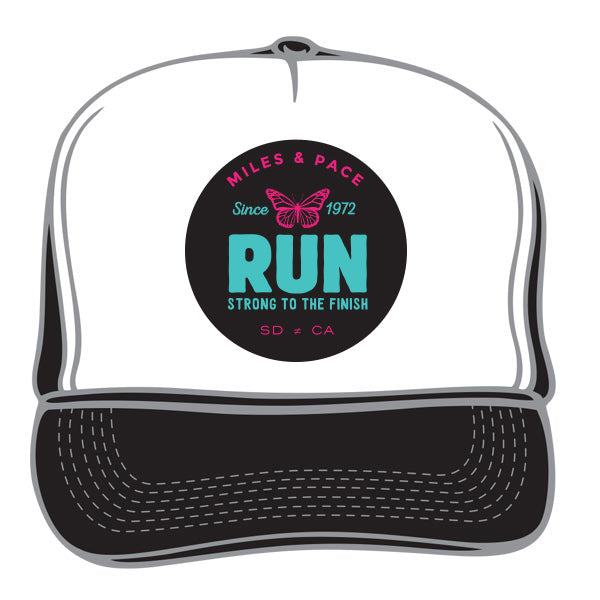Strong to the Finish Butterfly, Run Trucker Hat (multiple colors)