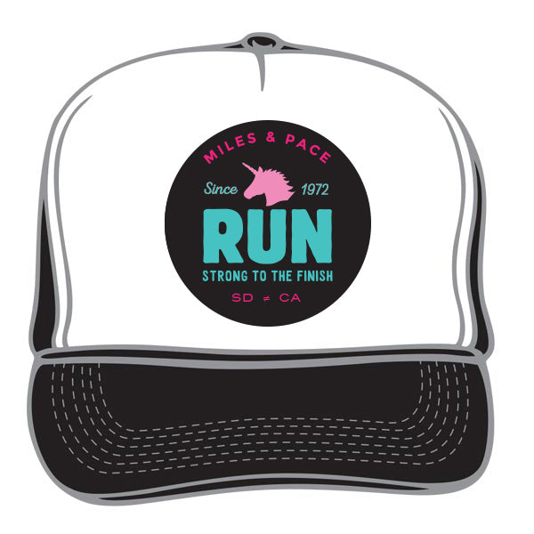 Strong to the Finish Unicorn, Run Trucker Hat (multiple colors)