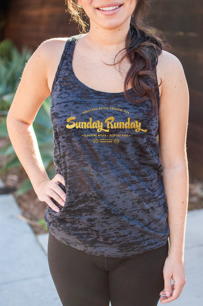 "Sunday ""RUNDAY"" // Burnout Tank // Gold"