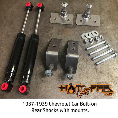 Chevrolet car bolt-on rear shocks with mounts. 1937-1939 - Hot Spot Fab