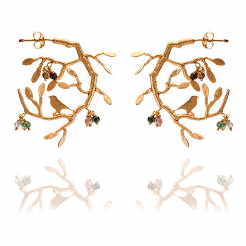 Gold bird in tree earrings