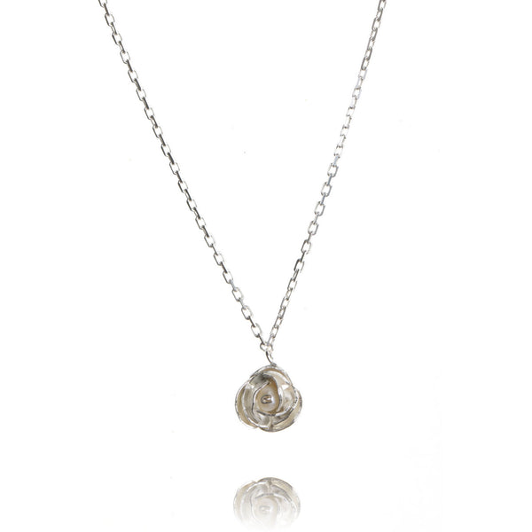 Silver and pearl peony necklace