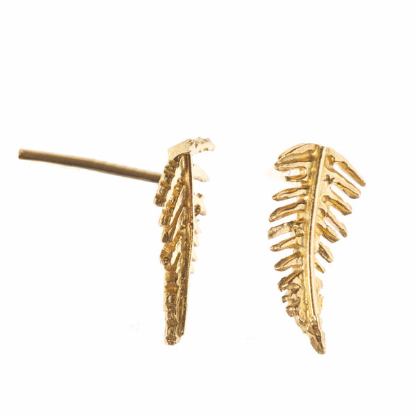 Small gold fern earrings