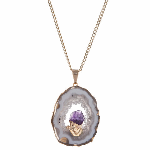 Geode and amethyst pendant