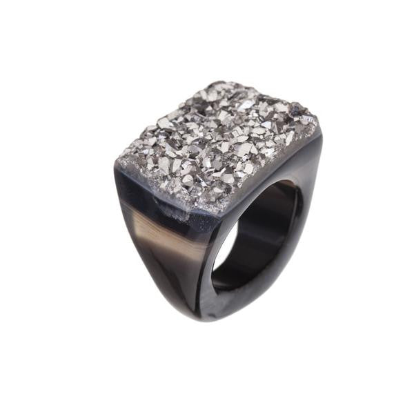 Silver metallic ring