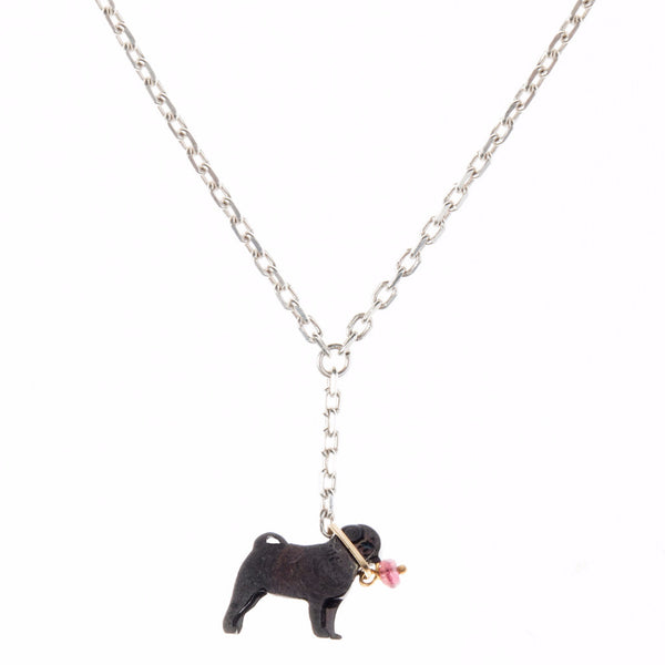 Pug on a lead necklace - black