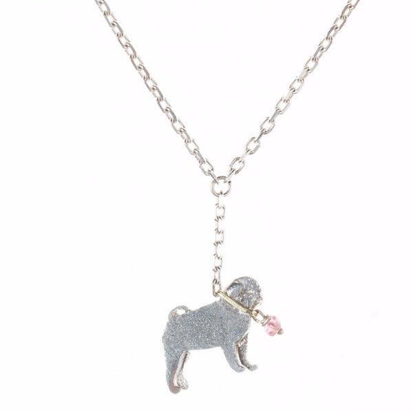 Pug on a lead necklace - silver