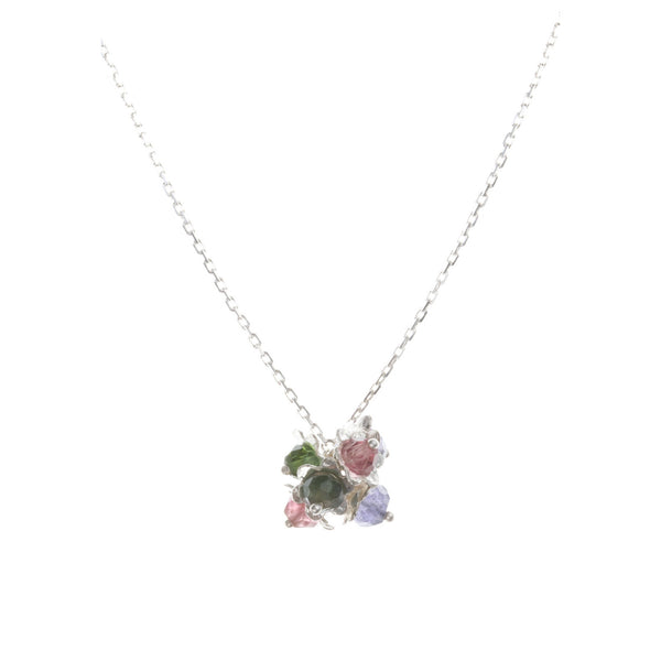 Forget-me-not cluster necklace in silver