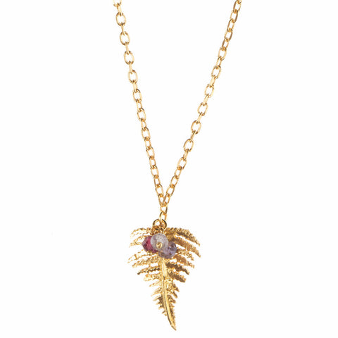 Fern necklace with beads in gold