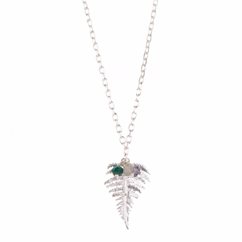Fern necklace with green beads