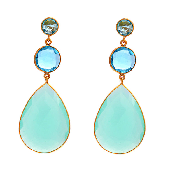 Aqua triple drop earrings