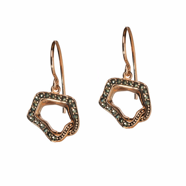 Rose Gold & Marcasite Open Flower Drop Earrings