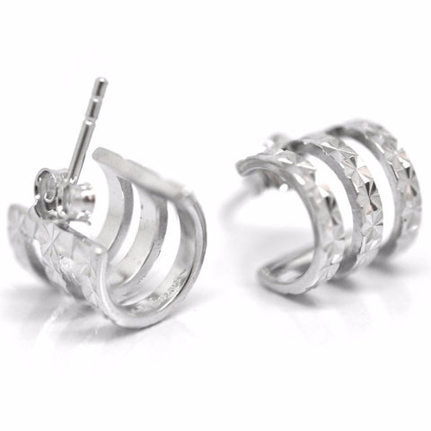 Triple band silver earrings
